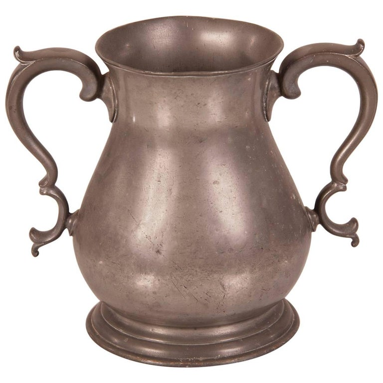 Large Antique French Louis Philippe Pewter Urn, circa 1850 For Sale