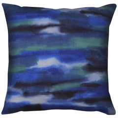 Unique Contemporary Double-Sided Promenade in Blue-Green Handmade Linen Pillow