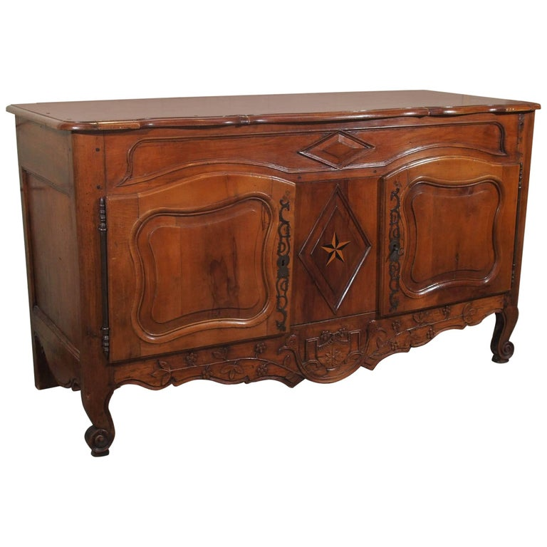 18th Century French Walnut Carved and Inlaid Sideboard, circa 1770 For Sale