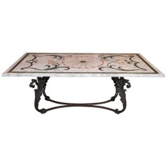 Fabulous Antique Italian Mosaic Marble Table on French Iron Table Base