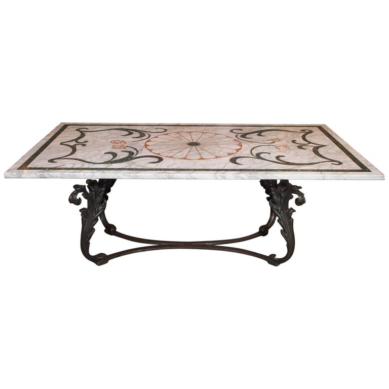 Fabulous Antique Italian Mosaic Marble Table on French Iron Table Base For Sale