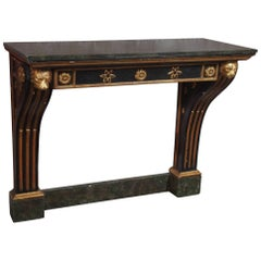 Antique French Painted and Gold Leaf Console in Neoclassic Style, circa 1860