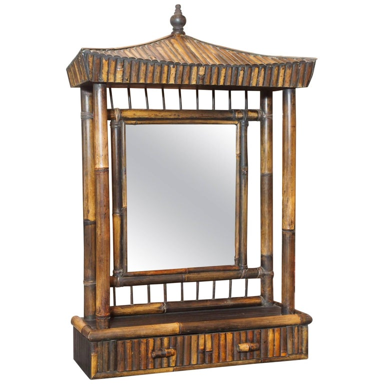 "Unusual Anglo-Chinese Bamboo ""pagoda"" Dressing Mirror, circa 1920 For Sale"