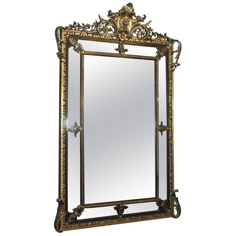 Fine Antique French Giltwood and Ebonized Mirror, circa 1850 1