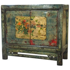 Antique Chinese Two-Door Blue/Green Lacquer Cabinet, circa 1915