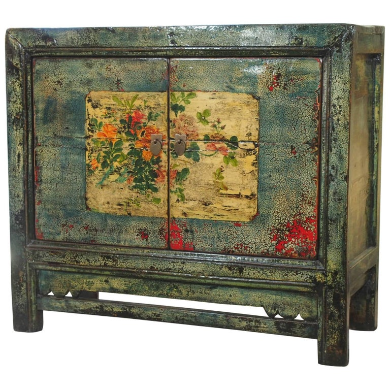 Antique Chinese Two-Door Blue/Green Lacquer Cabinet, circa 1915 For Sale