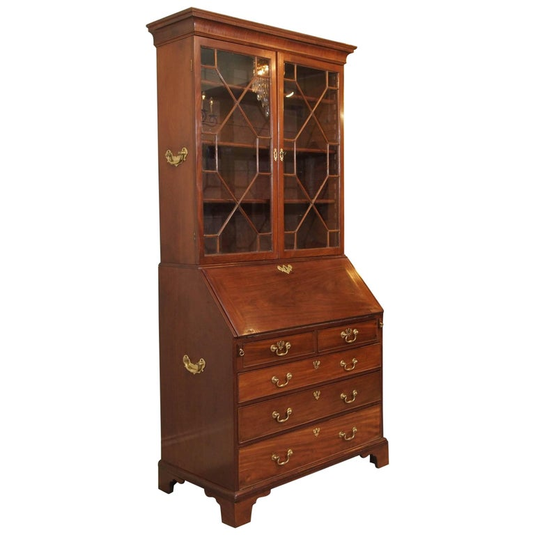 18th century Georgian mahogany secretary. 1