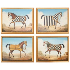 Set of Four Oil on Canvas Race Horse Paintings