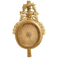 Louis XVI Period Giltwood Barometer from France, 1774-1793