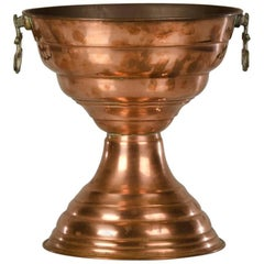 Antique French Copper Vase, circa 1910 Double Bowl Shape