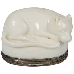 Soft Paste Mennecy Snuff Box Modeled as a Dog with Silver Mount