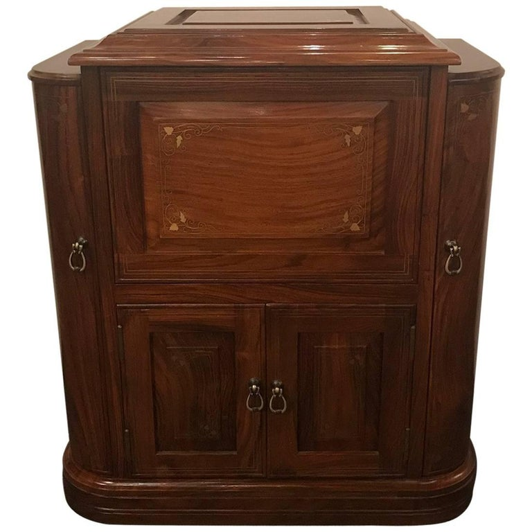 Diminutive Rosewood and Brass Inlaid Bar Cabinet