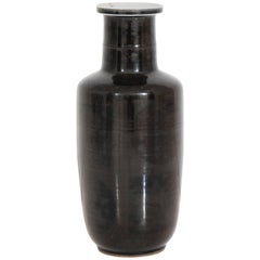 Chinese Kangxi Period Black Vase with Traces of Original Gilt Decoration