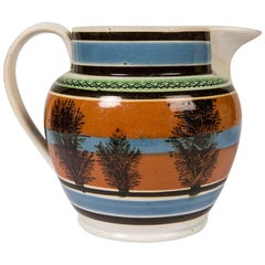 Mochaware Pitcher with Tree-Like Decoration