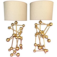Contemporary Pair of Lamps Atomic Gold Leaf by Antonio Cagianelli, Italy
