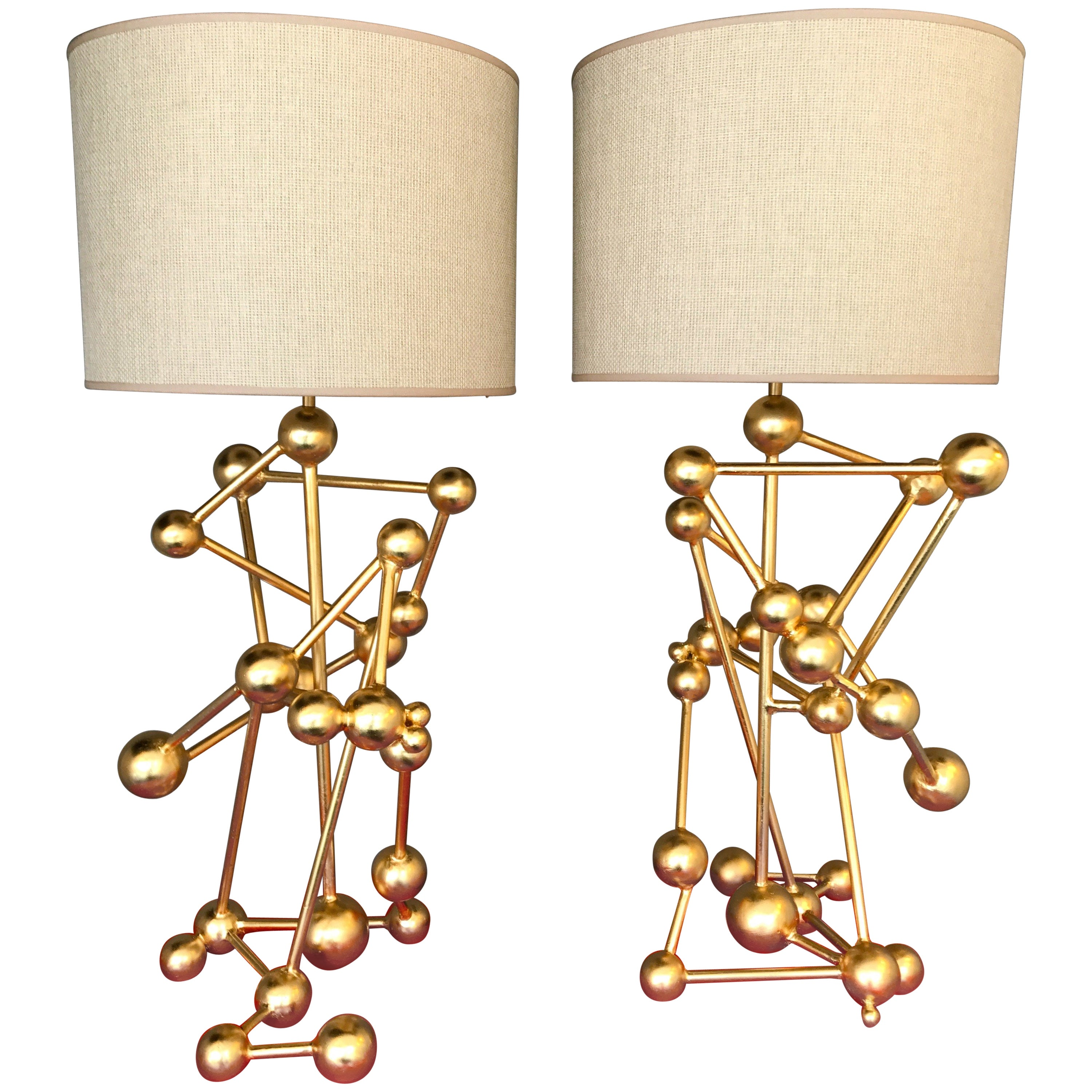 Contemporary Lamps Atomic Gold Leaf by Antonio Cagianelli, Italy