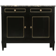 Antique French Louis XVI Style Buffet in an Ebonized Finish