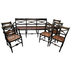 Set of American Hand-Painted Caned Furniture, Bench and Six Chairs, circa 1815