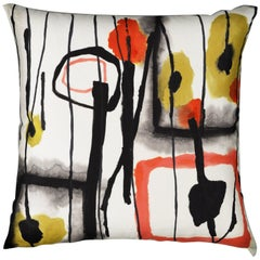 AbEx, Contemporary One-of-a-Kind Abstract Expressionist Handmade Linen Pillow