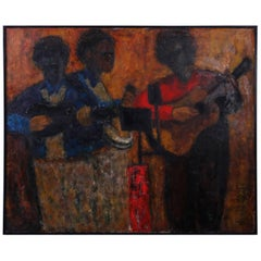 Mid-Century Impressionist Acrylic Painting on Canvas of Musicians
