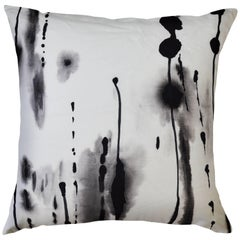 Ink, Contemporary One-of-a-Kind Black and White Ink Drips Handmade Linen Pillow