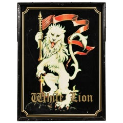 White Lion Metal Outdoor Sign