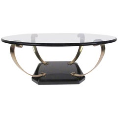 Vintage Regency Style Brass and Glass Cocktail Table