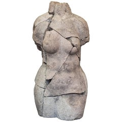 S XX  Granite  Torso Spanish sculpture , Signed