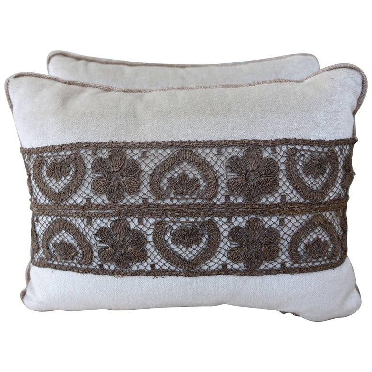 Pair of Silk Velvet Pillows with Metallic Lace Flowers