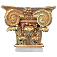 Carved Giltwood Corinthian Column Capital