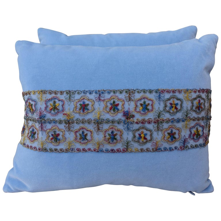 Sky Blue Silk Velvet Pillows Delicate Lace Applique, Pair For Sale