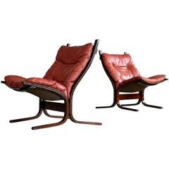 Ingmar Relling Pair of Siesta Sling Chairs in Reddish Brown Leather for Westnofa