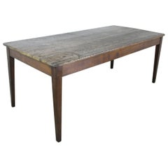 Antique French Scrubbed Top Pine Farm Table