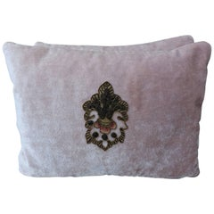 Pink Silk Velvet Pillows with Metallic and Chenille Applique, Pair