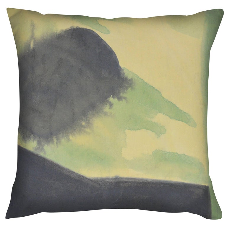 Unique Contemporary Double-Sided Silk Scarf in Green Handmade Linen Pillow For Sale at 1stdibs
