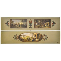 Pair of 19th Century French Hand Painted Wood Panels in the Manner of Teniers