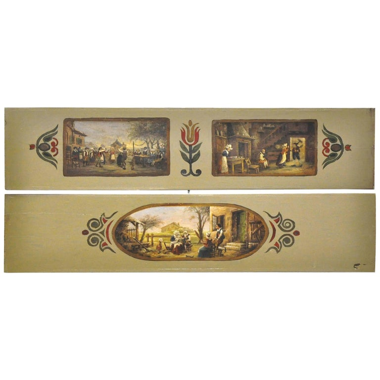 Pair of 19th Century French Hand Painted Wood Panels in the Manner of Teniers 1