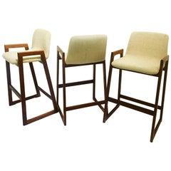 Danish Modern Set of Three Solid Teak Barstools