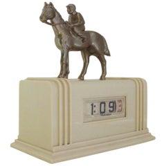 Rare American Art Deco White Plaskon & Spelter Figural Chieftain Trophy Clock