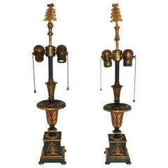 Wonderful French Empire Neoclassical Regency Patinated Ormolu Bronze Lamps Pair