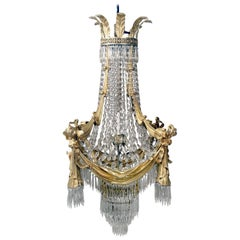 Stunning Late 19th Century Gilt Bronze and Drop Crystal Chandelier