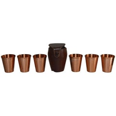 Copper Shot Glasses in Leather Travel Case Mid-Century Modern