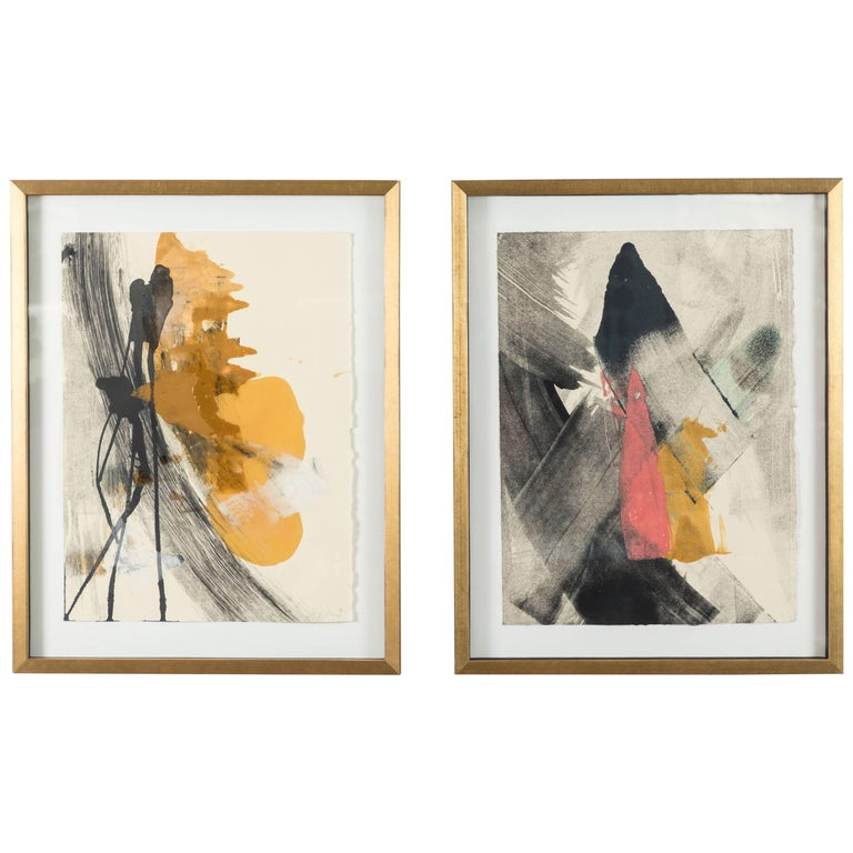 Pair of Abstract Monoprints by Anna Ullman For Sale