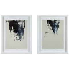Pair of Black Abstract Monoprints by Anna Ullman