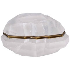 Fine Carved Abstract Form Rock Crystal Box with Cover