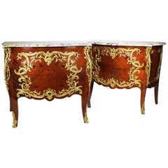 Semi-Pair of French 19th Century Louis XV Style Marquetry & Gilt-Bronze Commodes