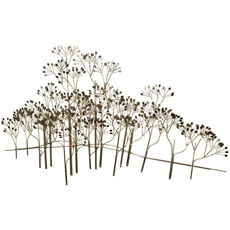 "Curtis Jere ""Trees"" Floating Wall Sculpture in Chrome, 1970s, Signed"