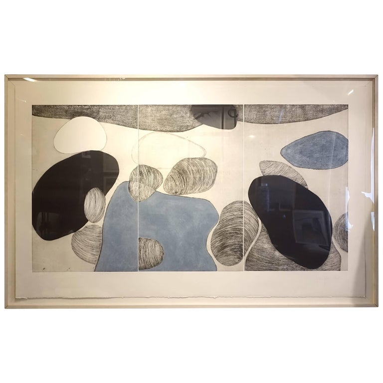 Extra Large Triptych By Artist Marielle Guegan, France, Contemporary