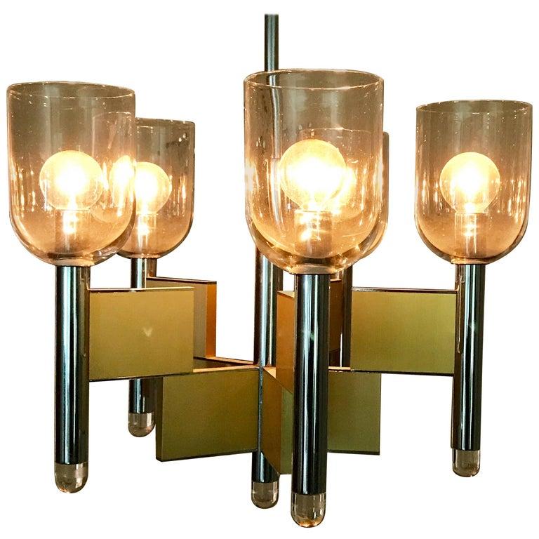 Gaetano Sciolari Five-Light Crome and Brass Chandelier, 1970s