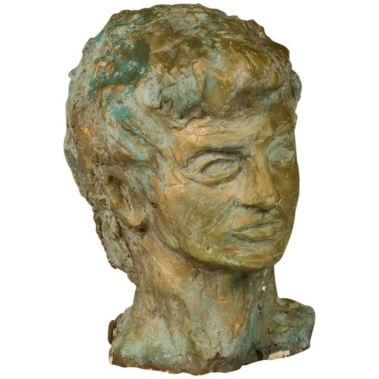 Art Deco French Sculpture of a Male Head in Patinated Plaster, circa 1930